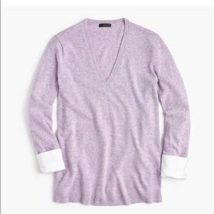 J crew purple b veck sweater shirt wool size L
